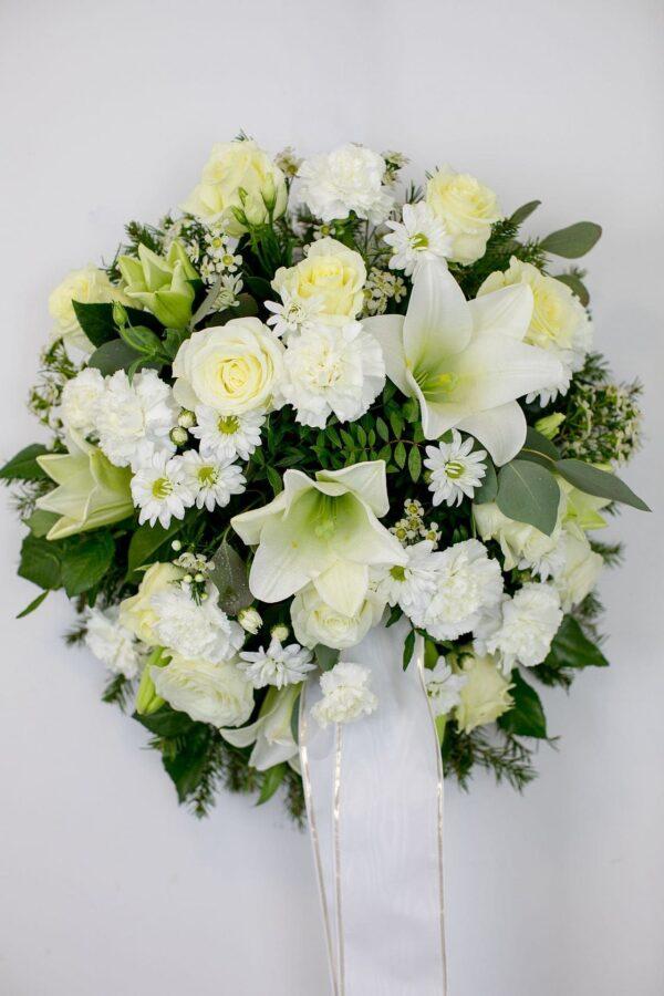 Leinakimp ümara kujuga, valgete lilledega - Leinalilled.ee